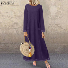 Women Lace Patchwork Sundress ZANZEA Autumn Sweatshirts Dress Casual Vintage Solid Long Sleeve Maxi Vestidos Female Tunic Robe