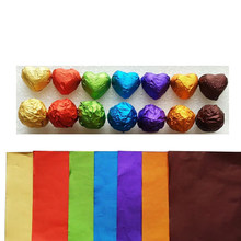 "100 unids/set 3,15 ""x 3,15"" papel de aluminio multicolor para alimentos DIY Paquete de dulces de Chocolate 10 colores disponibles(China)"