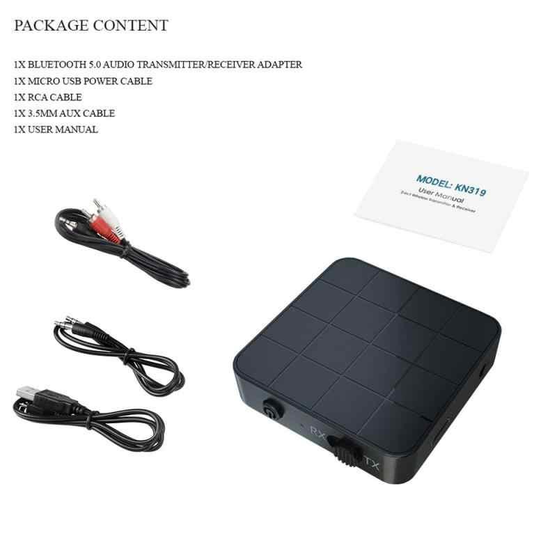 Nowy Bluetooth 5.0 nadajnik i odbiornik audio 2-in-1 Adapter telewizor z dostępem do kanałów głośnik komputerowy samochodu