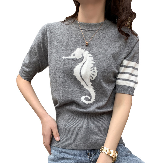 2021 new spring and summer TB women's round neck cashmere T-shirt star same 5-sleeve cashmere sweater Pullover short sleeve 1