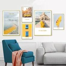 Постер в скандинавском стиле с желтым ландшафтом современный