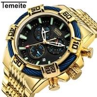 TEMITE Top Brand Men Watch Luxury Military Waterproof Quartz Wristwatch Unique Dial Design Large Size Men's Watches reloj mujer