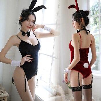 Sexy disfraz de cosplay de conejo Niña trajes de las señoras de pana de fiesta Sexy Teddy con almohadilla para el pecho Lencería para juego de roles mono mujer Clubwear