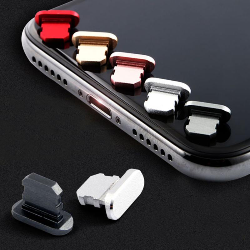 5/1pc plugue de poeira do telefone móvel para o iphone x/8plus/7/6s proteção mais abrangente nenhum desvanecimento mais leve liga de alumínio