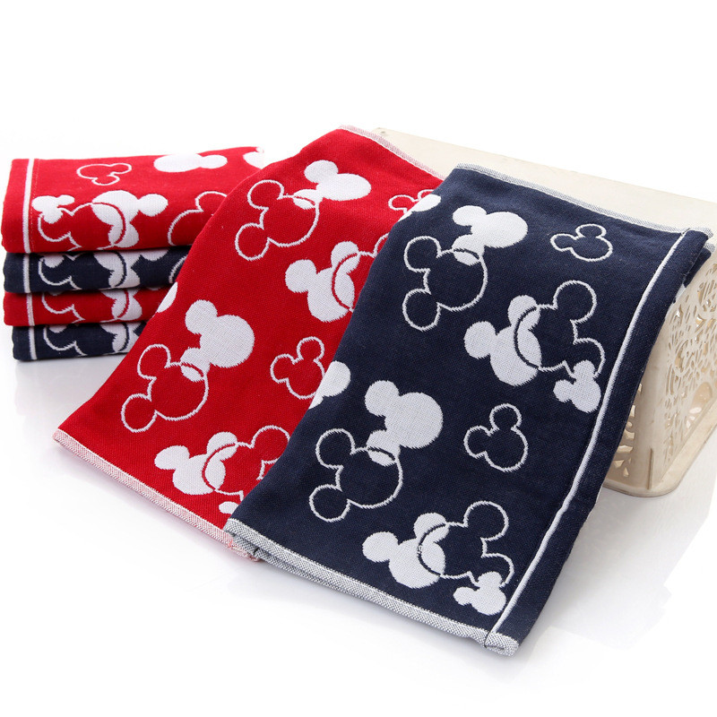 Disney Cotton Cartoon Mickey Minnie Gauze Towel Wash Towel Baby Boy Girl Wash Towel Children's Square Towel