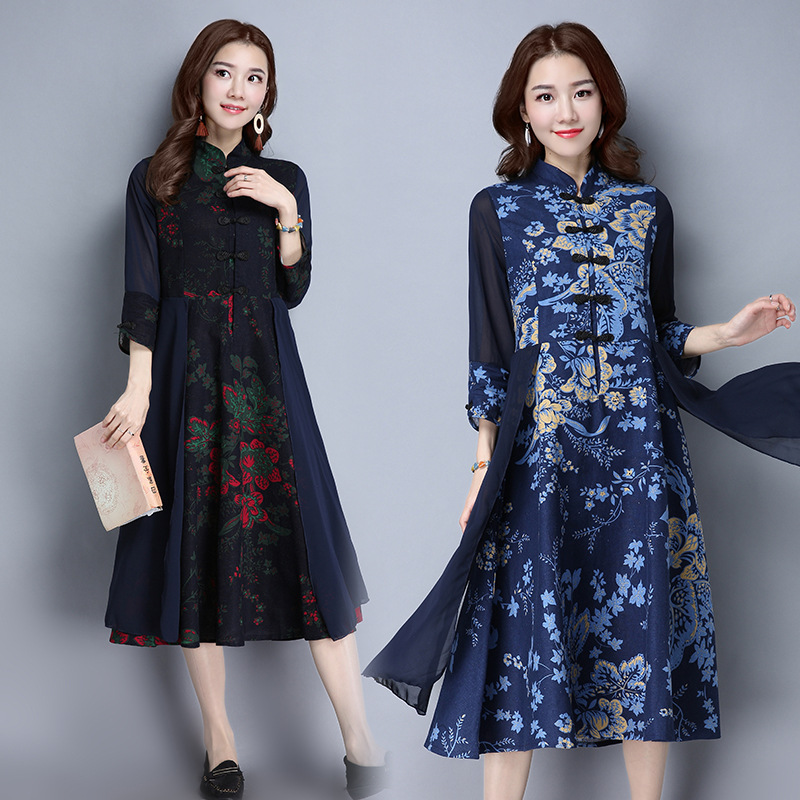 Photo Shoot 2018 Autumn New Style Cotton Silk Cotton Linen Improved Cheongsam Dress Women's Autumn Mid-length Fashion Skirt