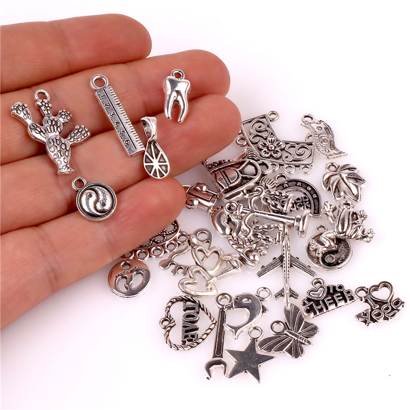 30pcs/lot Mixed Tibetan Silver Plated Star And Horseshoe Charms Finding Ethnic Women Pendientes Pendant Jewelry Supplies