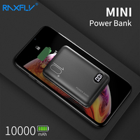 Raxfly mini power bank 10000 mah portátil tela led mi powerbank para iphone xiaomi portas usb duplas carregador rápido bateria externa