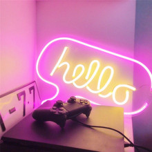 Neon Light Sign Hello Shape Transparent Acrylic Neon Wall Lights for Shop Bar Pub Mall Home Decor Room Pastry Display Cool Light