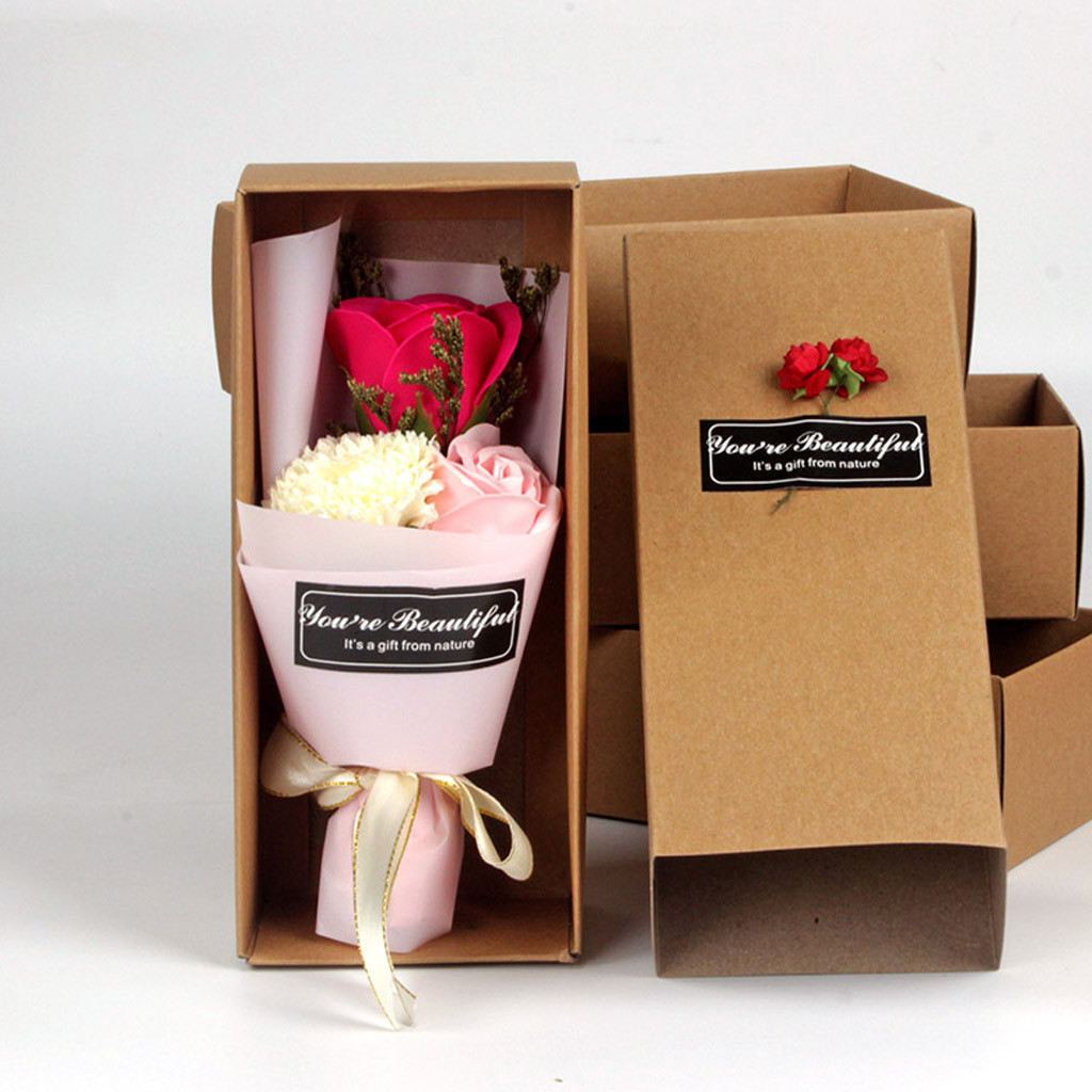 Romantic Carnation Soap Flower Box Scented Bath Body Petal Rose Flower Soap Carnation Soap Flower Gift Box Artificial flowers