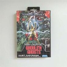 Ghouls ghosts n fantasmas eur capa com caixa de varejo 16 bit cartão de jogo md para sega megadrive genesis console de jogos de vídeo