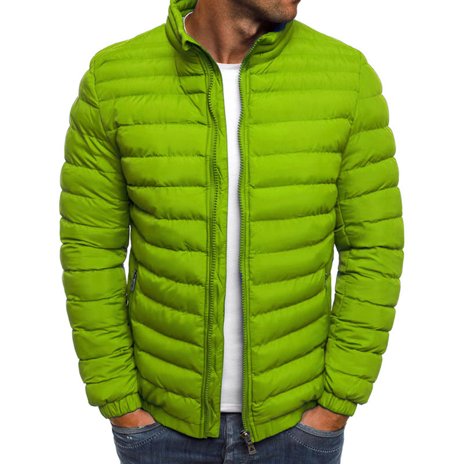 Mixed Color Winter Puffer Jacket Hooded Stand Collar Mens Quilted Coat Plus Size