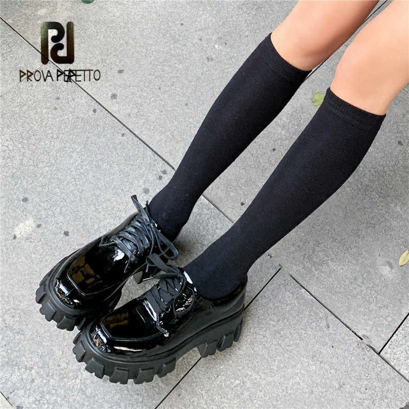 Prova Perfetto 2020 New Arrival Genuine Leather Shoes Ankle Strap Shallow Lace Up Shoes Platform Sneakers Chaussure Homme Shoes