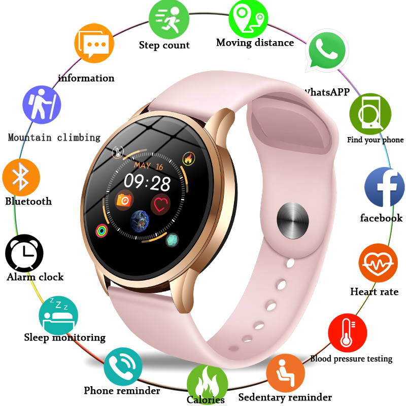 LIGE 2019 Hot Sale Smart Watches Heart Rate Blood Pressure <font><b>Monitor</b></font> Smart Watch Women Smartwatch Sport watch for IOS Android+Box image