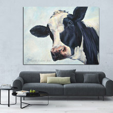 Nordic Black and White Art Animal Posters and Prints Oil Cow Canvas Painting Wall Pictures for Living Room Cuadros Home Decor(China)