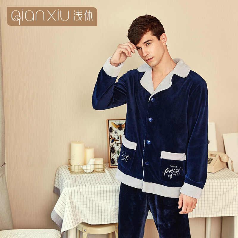 Ensemble de pyjamas chauds à manches longues en flanelle pour hommes