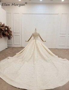 Image 4 - יוקרה ארוך שרוולי כדור שמלות חתונה שמלות Sheer צוואר תחרה פניני חרוזים סעודית אלגנטי עבור כלה 2020