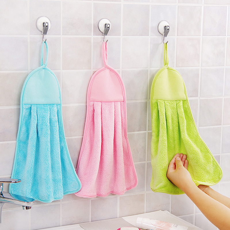 Coral Velvet Water Absorbent Wipe Towel Hand Towel Kitchen Bathroom Hand Towel