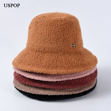 USPOP 2019 New women hats female loop yarn letter M bucket thick warm winter solid color collapsible hat caps
