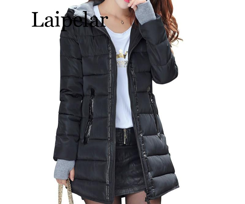 Laipelar 2019 women winter hooded warm coat slim plus size candy color cotton padded   basic     jacket   female medium-long feminina
