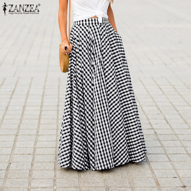 ZANZEA 2020 Autumn Women Zipper Pleated Skirts Ladies Plaid Check Pockets Long Maxi Faldas Femme Bohemian Long Skirt Jupe 5XL