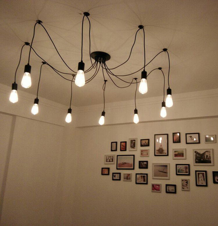 Image 2 - DIY Pendant lights Modern Retro Hanging Lamps Edison Bulb Fixtures Spider Ceiling Lamp Fixture Light for Living Room Home Decorlight choirlight up your lifelighting a pilot light -