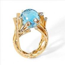 Milanbgirl-anillo en forma de rama de bola de cristal azul para mujer, joyería de fiesta, banquete, aniversario