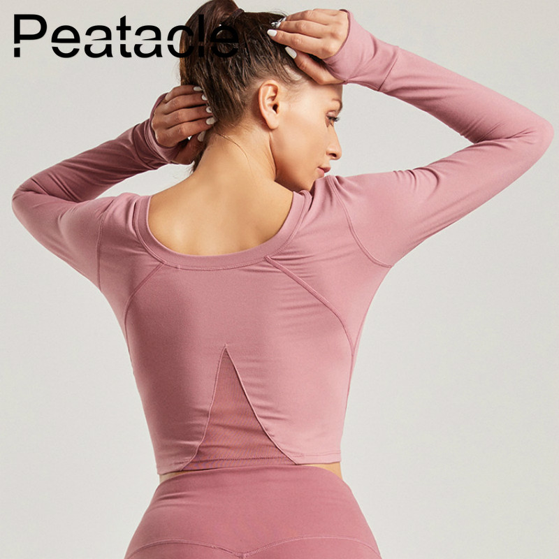 Peatacle Long Sleeve Yoga Shirt Women Gym Sport Fitness Workout Tops Solid Plus Size Women 39 s Sports Wear Sexy 2019 in Yoga Shirts from Sports amp Entertainment