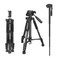 ZOMEI Q222 Camera Aluminum Tripod Stative Flexible Photographic Tripod Monopod Travel Stand for Smartphone Camera DSLR Projector
