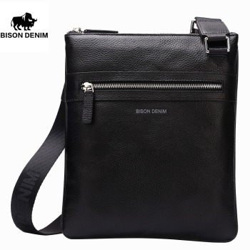 BISON DENIM fashion luxury men bag genuine leather one shoulder crossbody bags business male brand small messenger bag bullcaptain new men bag genuine leather man brand crossbody shoulder bag small business bags male messenger leather bags