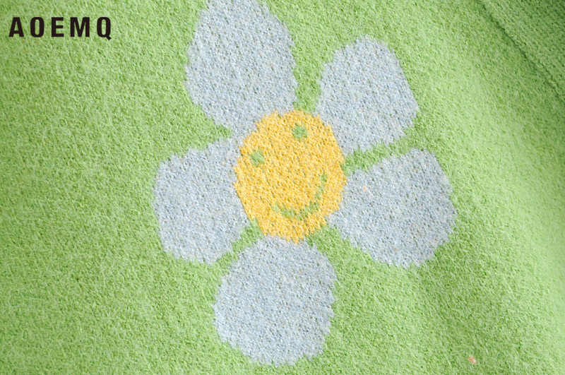 AOEMQ Mode Winter Pullover Nette Licht Grün Symbol Leben Frühling Pullover mit Blume Druck Frauen Tops Weihnachten Pullover