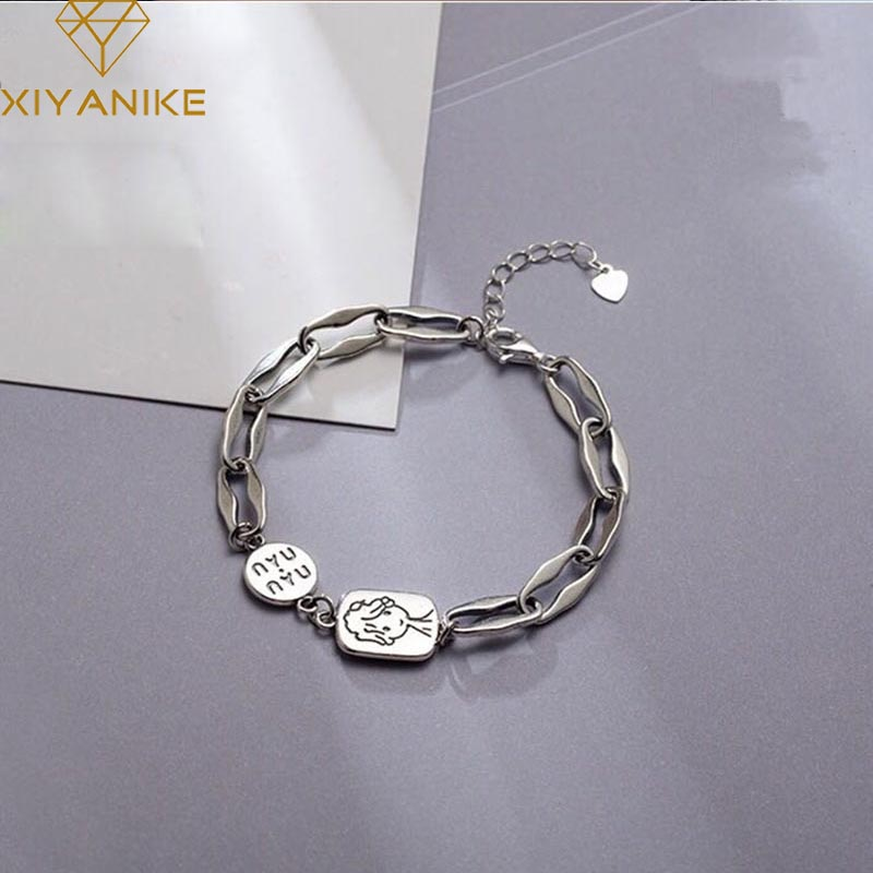 XIYANIKE 925 Sterling Silver New Fashion Cartoon Handmade Bangles & Bracelet Charm Women Vintage Creative Party Jewelry