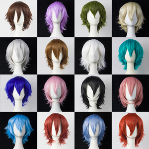 HSIU 30cm short Wig Black white purple blue red high temperature fiber Synthetic Wigs Costume Party Cosplay Wig multi 17color(China)