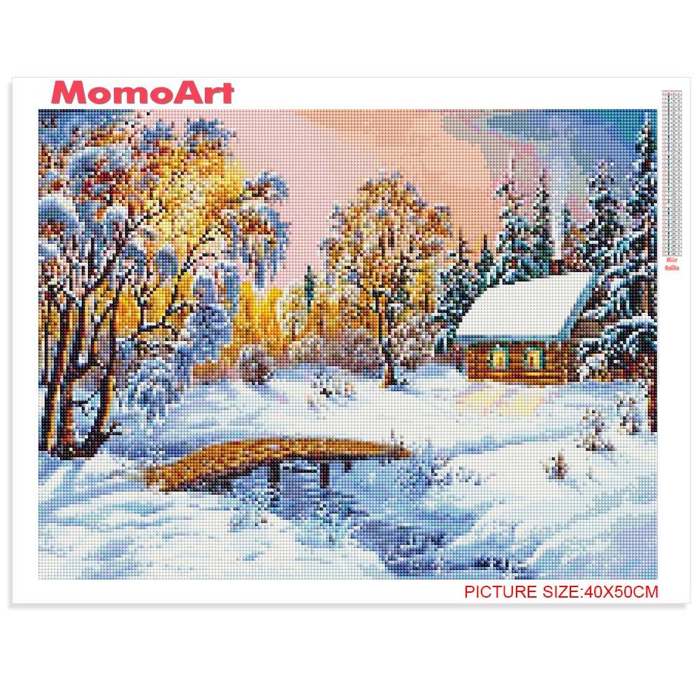 MomoArt Diamond Painting Landscape Diamond Embroidery Snow Night Full Square Drill Rhinestone Needlework Diamond Mosaic Kits in Diamond Painting Cross Stitch from Home Garden