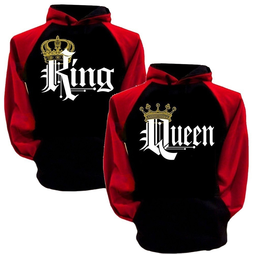 5XL Women Hoodies King Queen Sweatshirts Hooded Long Sleeve Loose Autumn Winter Couple Hoodies Clothing O Neck Pullovers Letter