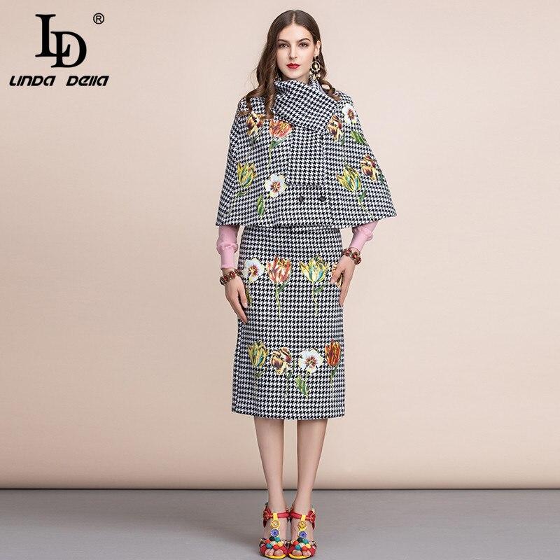 Ld linda della 가을 겨울 여성 정장 레트로 houndstooth 재킷과 사무실 레이디 빈티지 미디 스커트 두 조각 세트 2019-에서여성 세트부터 여성 의류 의  그룹 1