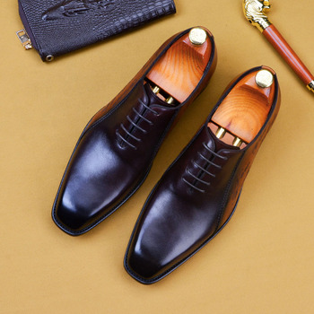 Fashion Men Business Dress Pointed Toe Moccasin Shoes Oxford Formal Wedding Shoes Lace Up Office Social Shoes For Men A52