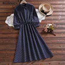 Mori menina outono primavera vestido feminino coreano chique azul listrado do vintage manga longa elegante longo senhoras doce vestidos longo femme