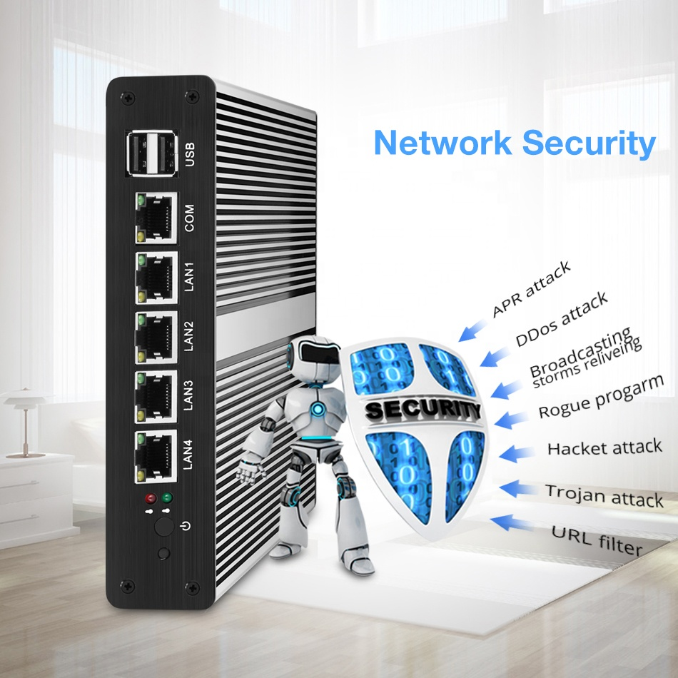 Newest Barebone Mini PC 6 Ethernet Lan Intel Celeron J1900 Quad Core PFesense Firewall Computer Router With 4G Ram 60G SSD WIF