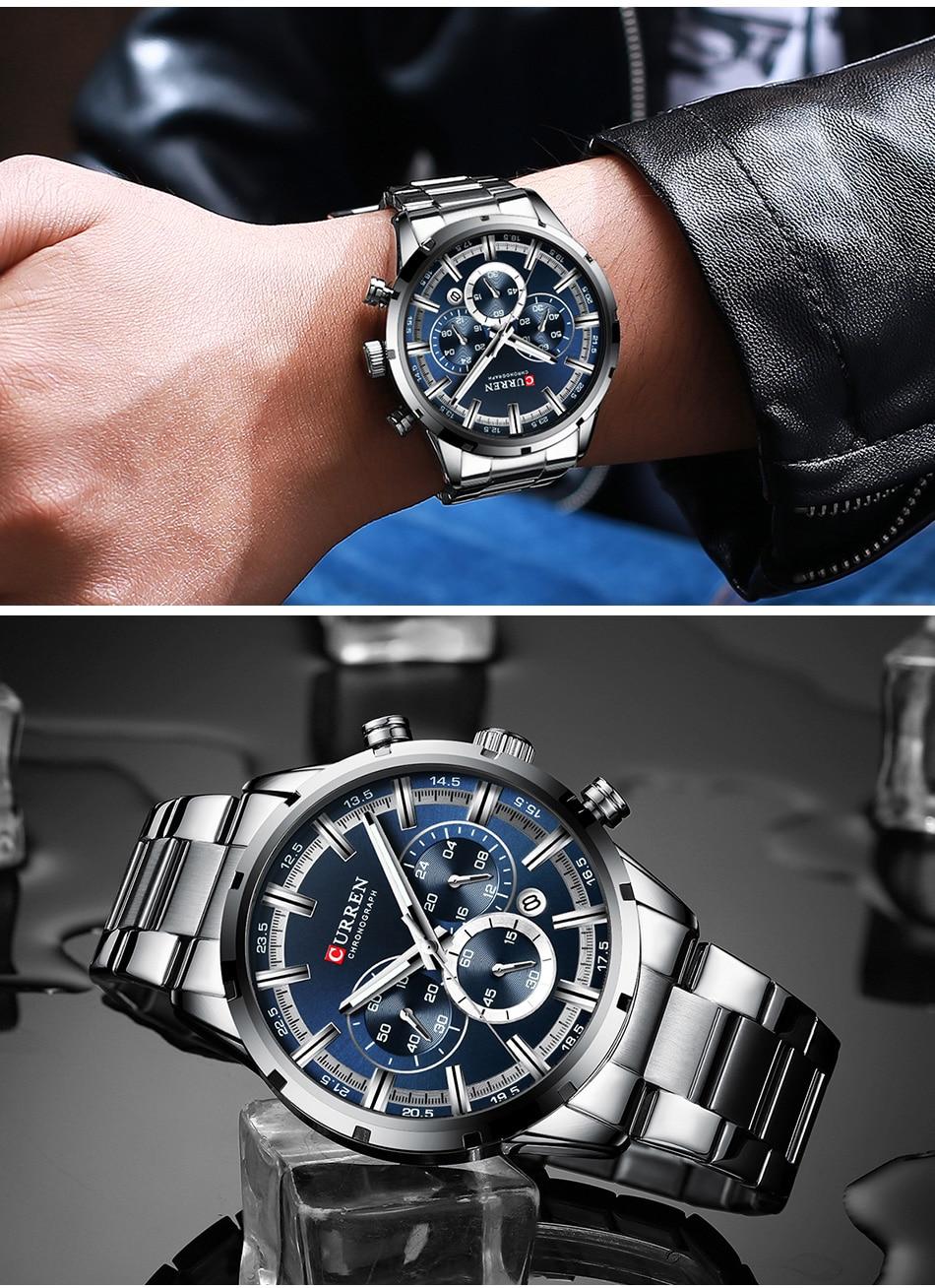 H5209f2721a194aaab8a017282b45b786B CURREN Men Watch Top Brand Luxury Sports Quartz Mens Watches Full Steel Waterproof Chronograph Wristwatch Men Relogio Masculino