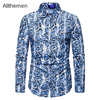 Allthemen Fashion Men Shirt Long Sleeve Button Down Shirt Men Vintage Chemise Animal Print Shirt Men Homme Streetwear Tops button down long sleeve pocket shirt