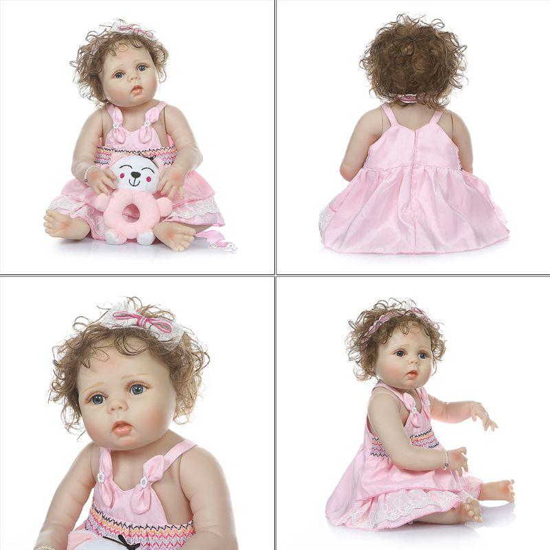 60 cm In Vinile Del Silicone Reborn Baby Doll Realistica della principessa Del Bambino Della Principessa capelli ricci ragazza bebe Realistico Bambini regali di Compleanno - 3