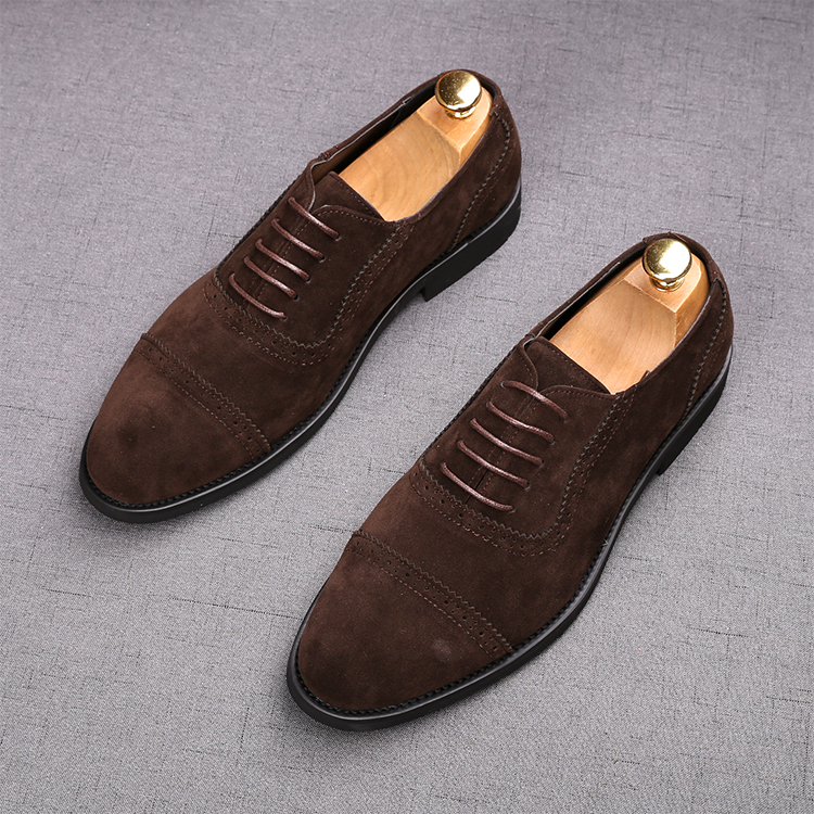 2020 High Quality New Men Suede Casual Mens Dress Shoes Lace-up Italian Stylist Flat Formal Oxfords Wedding Dress Shoe
