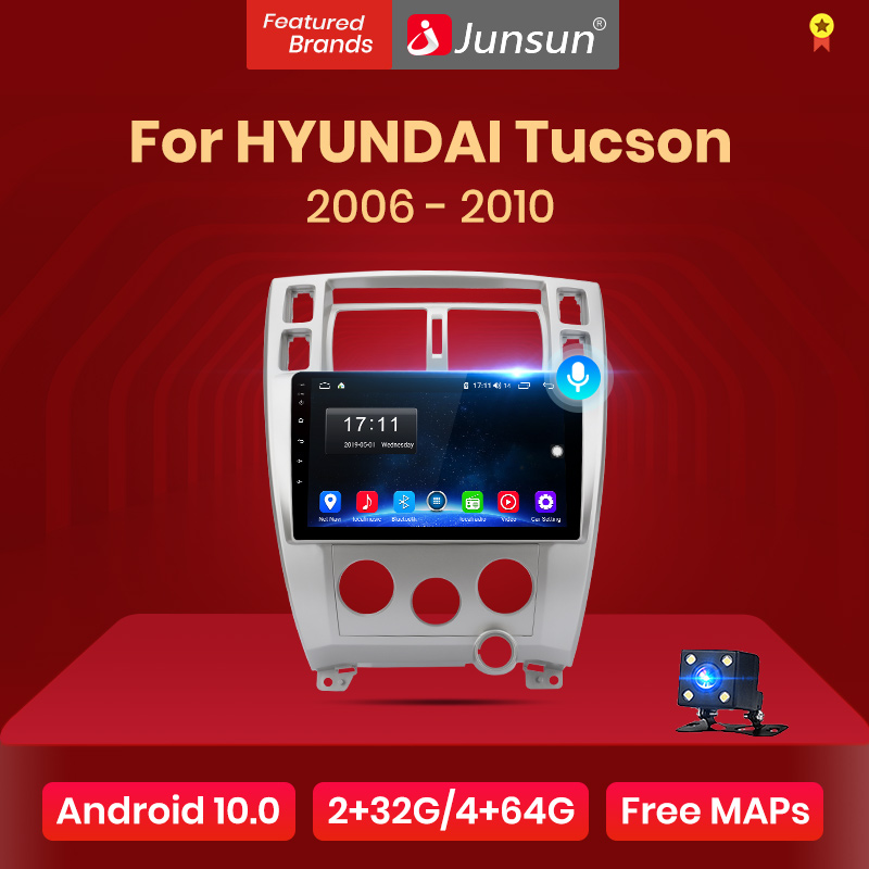 Junsun V1 4G+64G Android 10 AI Voice Control radio auto pantalla Carplay para Hyundai Tucson 2006-2010 Multimedia de bluetooth GPSnavegar estéreo