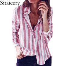 Sitaicery Women Blouses New Striped Shirt Casual Turn Down Collar Blouse Ladies Office Shirts Long Sleeve Tunic Top Blusas Mujer sexy striped print women shirts long sleeve turn down collar office ladies shirt fashion casual tops and blouses tunic tops 2019