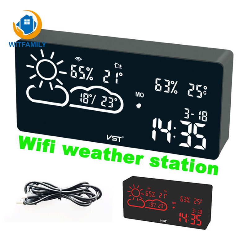 Alarm Clock Wifi World Time Weather Forecast Temperature And Humidity App Smart Wireless Connection Led Silent Snooze Electronic image