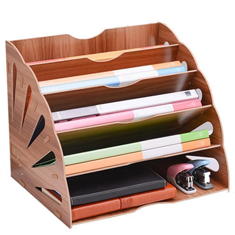 Wooden Fan-Shaped File Sorter for Office Desktop Magazine File Manager