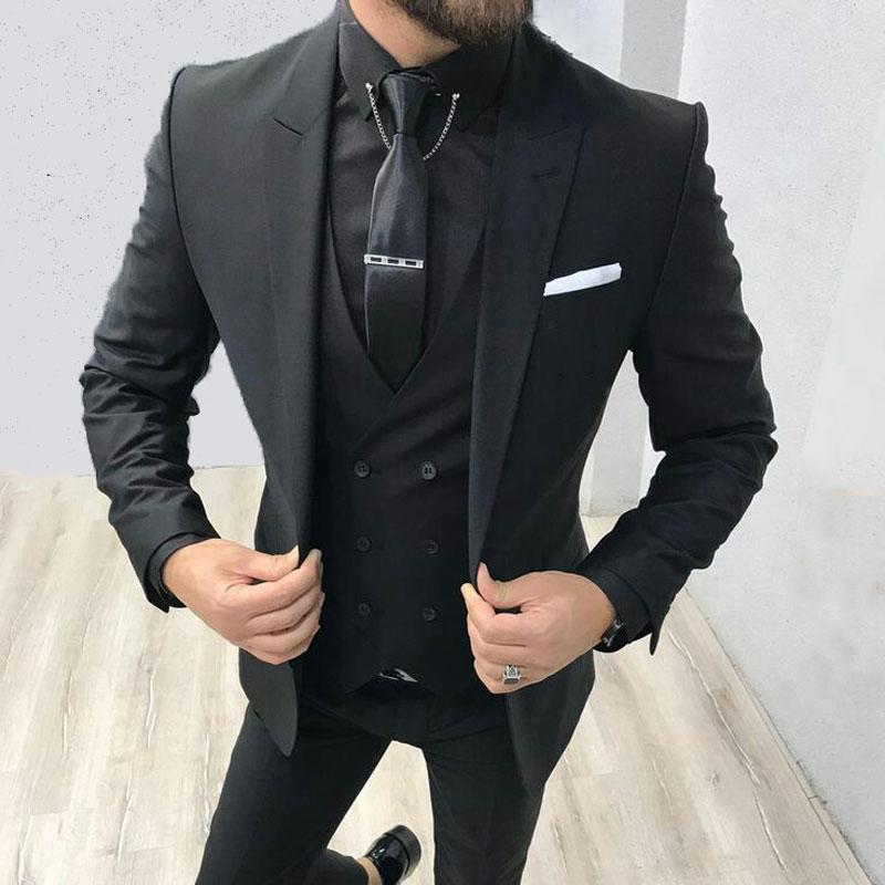 Latest Coat Pant Designs Men Suits For Wedding Black Groom Tuxedo Costume Homme Terno Masculino 3Piece Jacket Trouser Vest