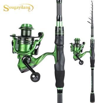 Sougayilang1.8m2.1m Telescopic Fishing Rod with13+1bb Spinning Fishing Reel Combo Carbon Portable Spinning Fishing Pole Reel Kit