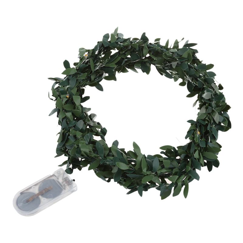 2M 20 LEDs Leaf Garland Button Battery Operate Copper LED Fairy String Lights For Christmas Wedding Decoration Party, White